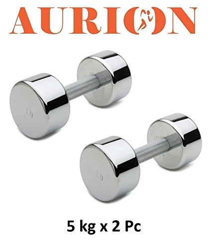 Aurion Turbo5 Steel Dumbell Set, 10Kg (Black)