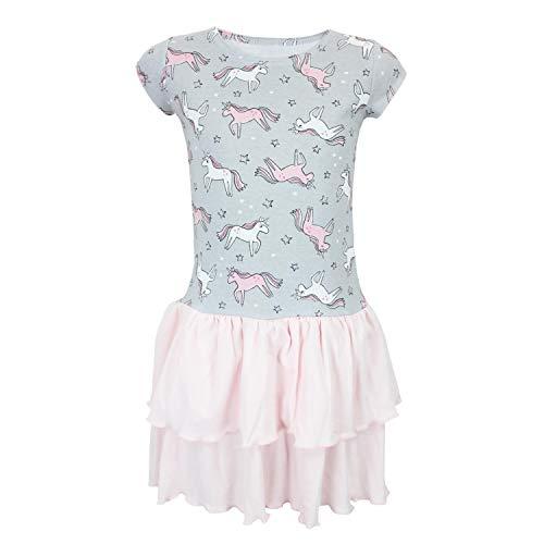 TupTam Mädchen Kurzarm Kleid mit Rüschen Gemustert, Farbe: Einhorn Grau/Hellrosa, Größe: 128 - Kleid Rüschen Rock