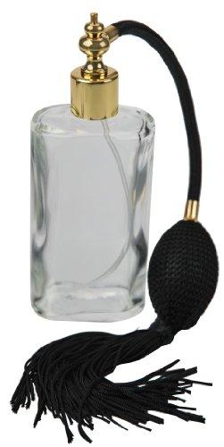 Fantasia 46186 - Boccetta ovale trasparente in vetro con pompetta, 100 ml - Profumo Aerosol