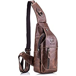 Bolso Mochila de Pecho, BULLCAPTAIN Leathario bolso mochila de pecho piel cuero para hombres con cuero compuesto para diario o trabajo.