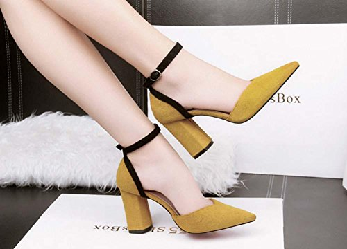 NobS Scarpe a punta tacco grosso sandali Shallow cinturino alla caviglia Nightclub sandali scarpe da lavoro Yellow