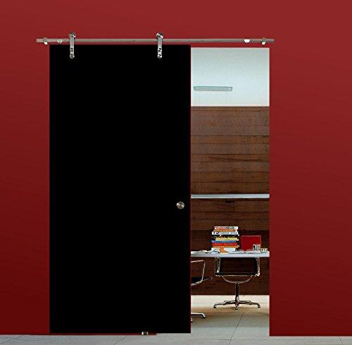 BV900BA: Glasschiebetür Glas Schiebe Tür VSG hochglanz schwarz 900x2050mm inkl. Soft Stop Edelstahl Schiebetürbeschlag - Hochglanz Schwarz Glas