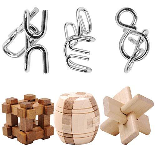 YAHAMA 6er Knobelspiele Set für Erwachsene Kinder IQ Puzzle 3D Geduldsspiele Holz Logikspiele Metall Brainteaser Rätsel -