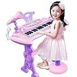 YAKOK Keyboard Kinder, 37 Tasten Elektronik Klavier e Piano Keyboard Kinder mit Mikrofon, Ständer und Hocker Musikspielzeug für Junge Mädchen ab 2-5 (Rosa, Lila)