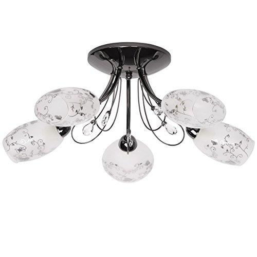 Deckenleuchte modern schwarz nickelfarbe 5-flammig Glasschirm mit Muster Kristall klar exkl.5*60W E14 (5 Regenbogen-akzenten)