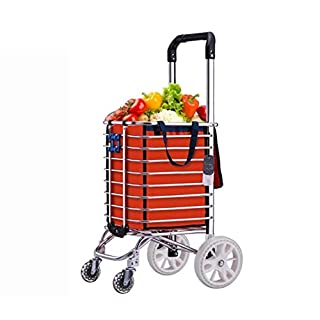 Foldable Utility Shopping trolleys, Stair Climbing Grocery Laundry Trolley with Removable Pocket