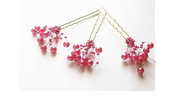 Haarklammer 3 goldfarbene Haarnadeln Perlen Perlenfächer  Farbe rosa