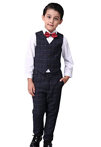 Icegrey Jungen 4 Stück kariertes Formale Weste Anzug Pagen Anzug für Prom Hochzeit besondere Anlässe 7-8 Jahre Schwarz (Husky Jungen Anzug)