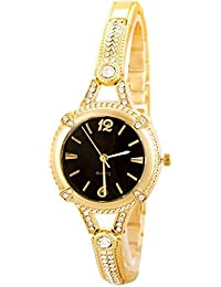 Briota New Fashion Black Dial Color With Gold Color Strap Analogue Watch For Girls & Women