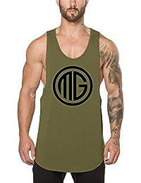 Camiseta de deporte para hombre de Swallowuk para gimnasia y culturismo, chaleco de entrenamiento de algodón negro Negro large