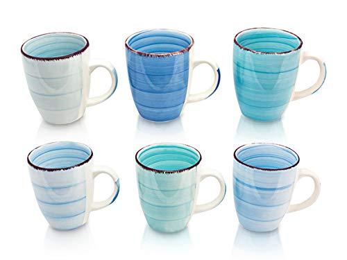 6er Set Kaffee Tee Kakao Becher Tassen Pott Porzellan Uni bunt Modernes Design ca. 350 ml (Hellblau,Meeresblau,Dunkelblau,Mint,Pastellblau und Türkisblau)
