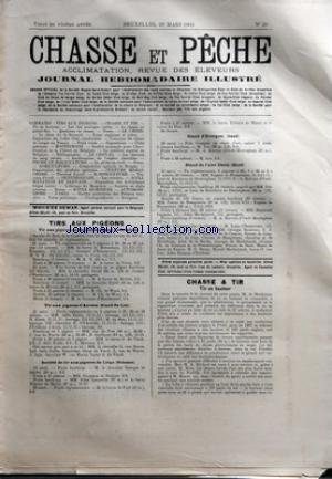 CHASSE ET PECHE [No 26] du 29/03/1903 - TIRS AUX PIGEONS - STAND AUDERGHEM - STAND DU LIST - SCLESSIN - STAND DE SAINT-DENIS - STAND D'EVERGEM - CHASSE ET TIR - TIR EN HAUTEUR - M. DE MONBRISON - A. RICHARD - M. MOOVE - M. NIVE - MARQUIS DE BIEL - SAINT-BERNARD A POIL LONG APPARTENANT A M. LE MAJOR FRITZ BLOSCH DE BIEL EN SUISSE par Collectif