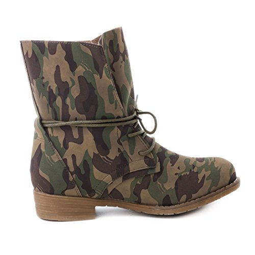 Damen Stiefel Stiefeletten Schnür Boots Lederoptik Camouflage Vertigo
