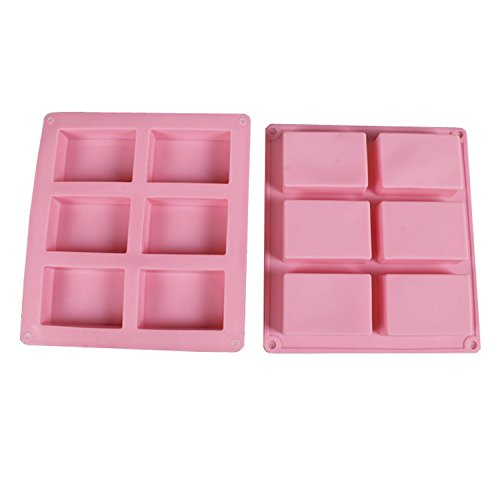 Fhouses New 6 Cavities hand-made rectangle soap mold, soap Mold Silicone Mould for Handmade Craft