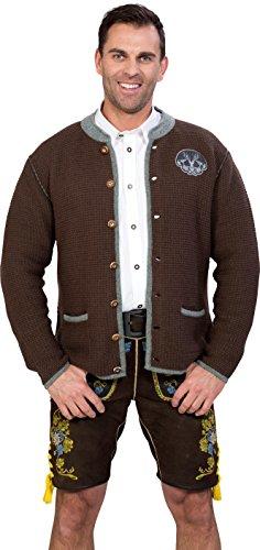 Almwerk Herren Trachten Strick Jacke Modell Ludwig, Größe Herren:50 - L - Bundweite 86-89 cm;Farbe:Braun