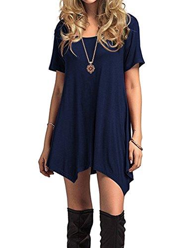 Azue Damen Sommerkleider Kurzarm Kleider Casual T-shirt kleid Loose Fit für  Alltag Dunkelblau K EU 48 (Herstellergröße 2XL) 8f00df99d3