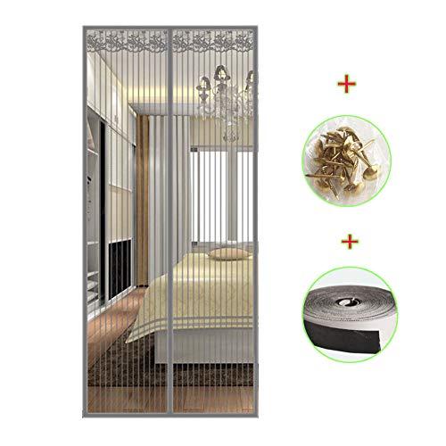 Tenda zanzariera magnetica finestra 80x200~140x220 cm per porta con calamita moschiera per porte di soggiorno camera da letto casa,gray,80x220cm(31x87inch)