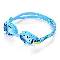 HiCool Kinder Schwimmbrille 100% UV-Schutz + Antibeschlag Wasserdicht Kinder Schwimmbrille 180 ° Weitwinkel Sicht- Farbe Auswahl (Blau)