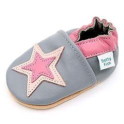 Dotty Fish Weiche Babys und Kleinkinder Lederschuhe. Graue und rosa Sterne. 12-18 Monate (21 EU)