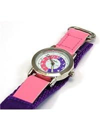 Montre Pédagogique Reflex Fille Bracelet Velcro en Tissu Rose/Violet