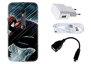 Spygen Motorola Moto G Turbo Edition Case Combo of Premium Quality Designer Printed 3D Lightweight Slim Matte Finish Hard Case Back Cover + Charger Adapter + High Speed Data Cable + Premium Quality OTG