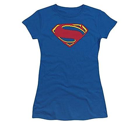 Man Of Steel 8 Bit Shield Juniors Royal Blue T-Shirt(Medium)
