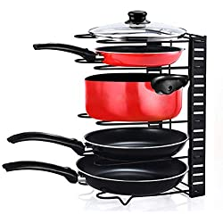 Home-Neat Porte-casseroles Acier Inoxydable Support, Plateaux de Rangement Réglable Parfait pour Les Ustensiles de Cuisines Poêles, Casseroles, Couvercles, Faitout