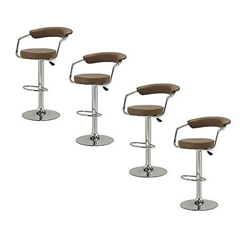 Lot de 4 Tabouret de bar avec accoudoirs réglable rotatif à 360 ° pour Salon Comptoir Cuisine Salle a manger - Café