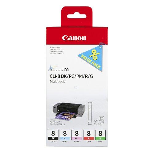 Canon CLI-8 BK/PC/PM/R/G Tintenpatronen Multipack 26ml/13ml, foto-cyan/foto-magenta/rot/grün (Canon Pro 9000 Ii Tinte)