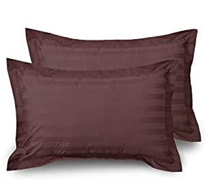 Ahmedabad Cotton 300 TC Luxurious Striped Pillow Case Set - Pack of 2 Pillow Covers