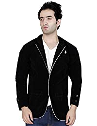 GARUN Black Velvet Solid Single Breasted Mens Blazer