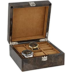 Armbanduhr und Manschettenknöpfe Sammler Box 4Paar Manschettenknöpfe + 4Handgelenk Uhren im Licht Wurzelholz mit massivem Deckel von aevitas