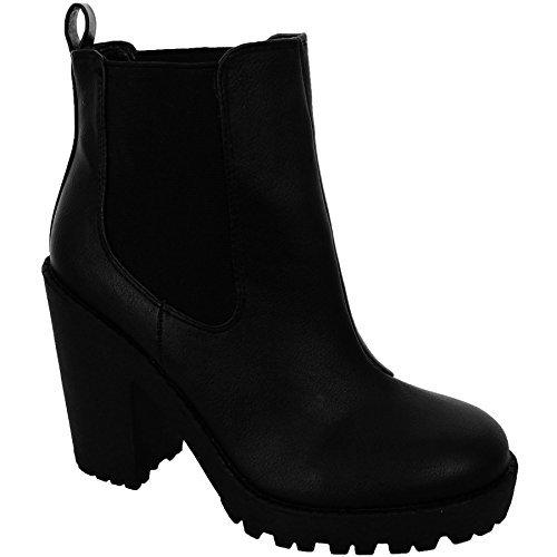 FANTASIA BOUTIQUE pour Femmes Chelsea Talon Épais Chaussures femmes cloué Plateformes Bottines Noires Noir