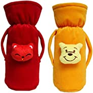 Cutieco Baby Feeding Bottle Cover with Attractive Cartoon, Yellow and Red (Pack of 2)