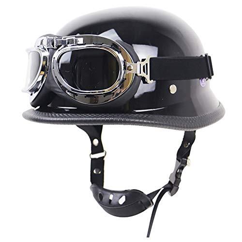 Z·Bling-Helmet Casco Moto d'Epoca con Occhiali Vecchio Stile Protezione Casco Conchiglia per Open Face Vintage Harley Elmetti Adatto per Scooter da Crociera Approvato DOT/ECE autent