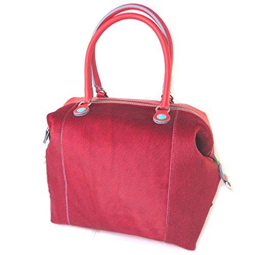 Borsa in pelle 3 in 1 'Gabs'rosso (bimatières)(l)- 43x37x5 cm.