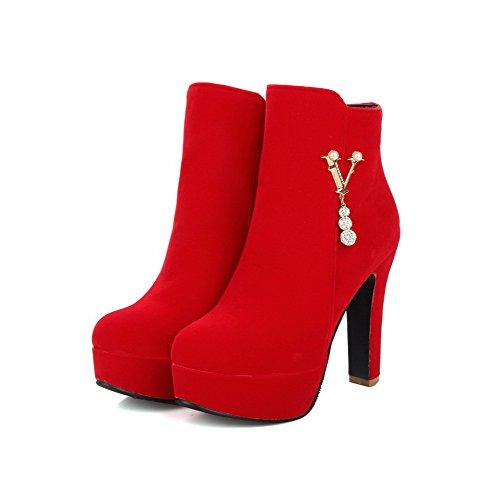 VogueZone009 Donna Cerniera Punta Tonda Tacco Alto Bassa Altezza Stivali Rosso