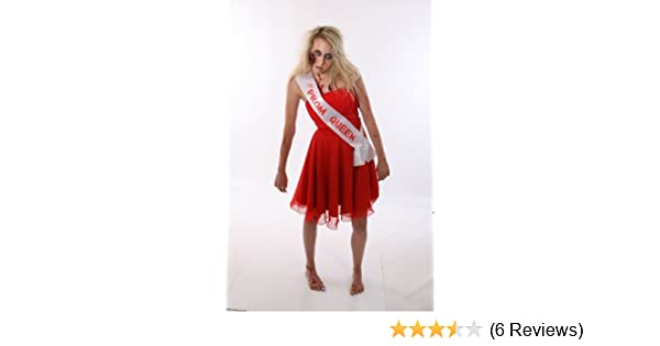 ZOMBIE PROM QUEEN SASH CHEAP HALLOWEEN FANCY DRESS COSTUME OUTFIT IDEA WHITE BLOOD TEXT: Amazon.co.uk: Toys & Games