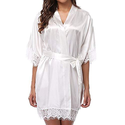 Womens Solid Silk Satin Kimono Robe Hochzeit Brautjungfer Kleid Nachtwäsche Kleid (Weiß) (Damen Silk Robe)
