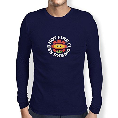 TEXLAB - Red Hot Fire Flowers - Herren Langarm T-Shirt Navy