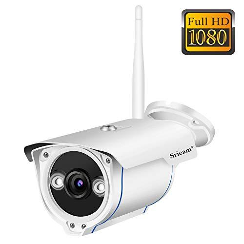 Sricam SP007 Cámara de Vigilancia Wifi Exterior, Visión Nocturna, HD 720P Impermeable IP66, Seguridad Exterior, Detección...