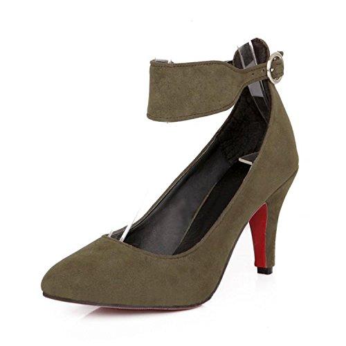 Il grande formato 34-43 di estate di modo delle donne delle pompe della fibbia a punta punta sandali tacchi sottili esercito verde giallo grigio marrone Green