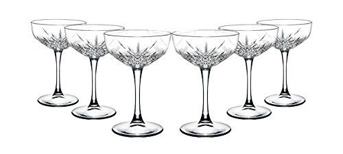 "Pasabahce 440236 Sektschale ""Timeless"" im Kristall-Design, Höhe ca. 15,7 cm, 6er Set aus Glas"