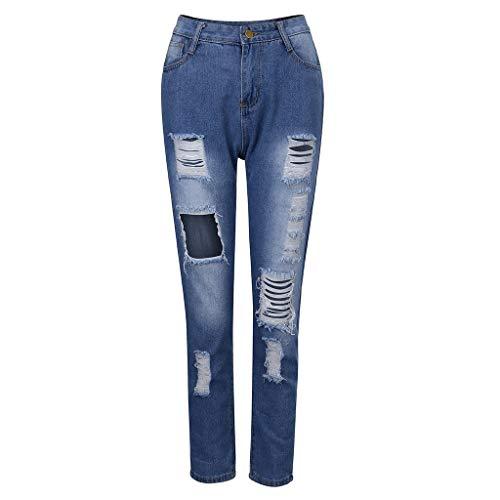 Jeans Damen Mit Löchern Spitze Elegant Hose Frauen Ripped Vintage Weiblich Denim Pants Cowboy Lange Hosen Briskorry Elegant Streetwear -