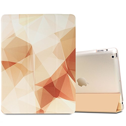 Infiland iPad 2/3/4 Case-iPad 2/3/4 Ultra Slim Translucent Frosted Back Leather Magnetic Smart Case Cover for Apple iPad 2,Apple iPad 3,Apple iPad 4(with Auto Wake/Sleep Function),Gold Squares