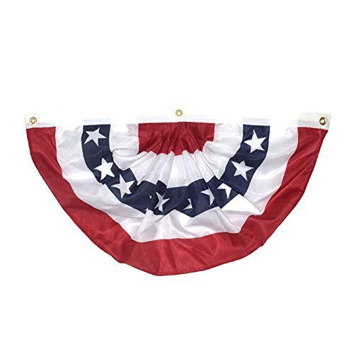 Fan Von Bunting (Chomile Halbkreis amerikanische Flagge Plissee Fan Flagge USA Bunting Decor Logo Print patriotische Sterne Streifen)