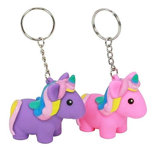 com-four® 2X Magic Squeeze Llavero Unicornio en Rosa y Morado, Colgante Unicornio para trituración, 5.7 x 5.5 x 3 cm (02 Piezas - Colgante Squeeze Mix2)