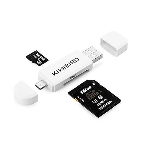 KiWiBiRD Adaptateur Micro USB à USB 2.0, Micro USB vers lecteur Micro USB & USB 2.0 SD/Micro SD pour téléphones intelligents / tablettes Android avec fonction OTG, PC MacBook et Smart TV - Blanc