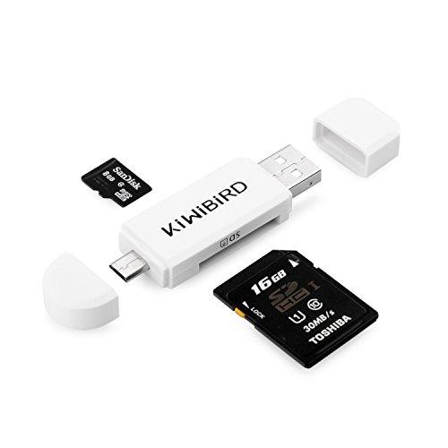 KiWiBiRD Micro USB OTG zu USB 2.0 Adapter; SD/Micro SD Kartenleser mit standard USB Male & Micro USB Male Anschluss für Smartphones/Tablets mit OTG Funktion, PCs, MacBooks und Smart TVs - Weiß