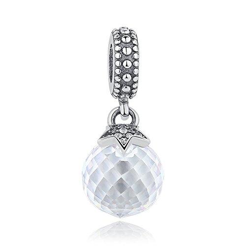Everbling Bead Mond & Stern klar Kristall baumeln 925Sterling Silber Passend für Pandora Charme Armband